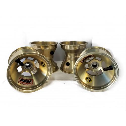 Set jantes 110/140 mm légères aluminium  Or AMV   KF (roulements)
